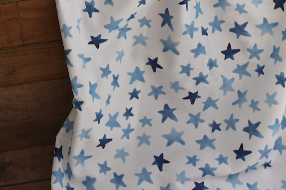 Child's Organic Weighted Blanket-Blue Stars Organic Cotton/Choose Your Back, Glass Beads, Autism Gift, Organic Bedding, Natural Sleep, ADHD,