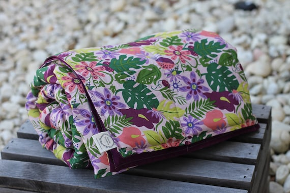 Mothers Day Gift, Adult/Teen Organic Cotton Weighted Blanket, Weighted Throw, Glass Beads, Tropical Floral, Birthday Gift For Friend