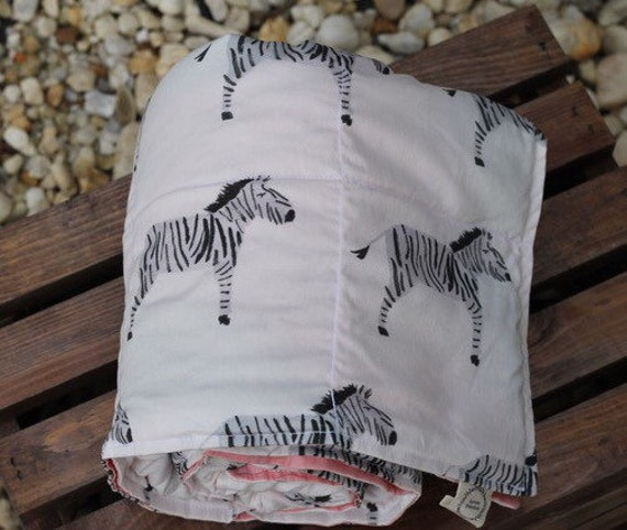 Child's Organic Weighted Blanket, Zebras Organic Cotton, Choose Your Back, Glass Beads, Gift For Kids, Kids Bedding, Autism Gift, SPD Gift