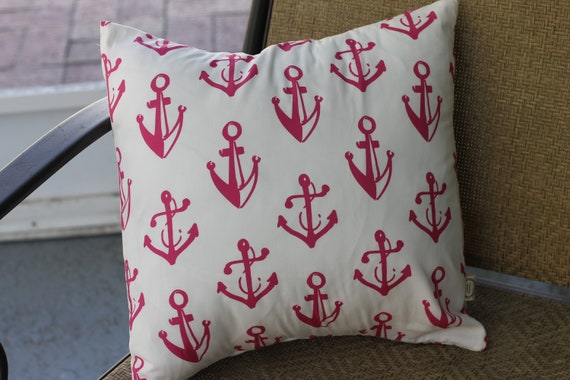 Organic Throw Pillow Cover / Anchors / Organic Cotton  / 16X16 / Girls Bedding / Anchor Bedding / Home Decor / Anchor Pillow / Kids Decor