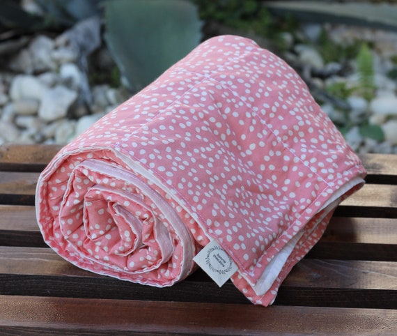 Adult Organic Weighted Blanket-Pink Firefly/Choose Your Back Color/Glass Beads, Gift for Her/Natural Sleep/Anxiety Relief/Graduation Gift