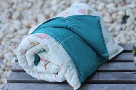 READY TO SHIP! Adult/Teen Organic Weighted Blanket, 12lbs, Birdcages,  Organic Blanket, Glass Beads, Anxiety Relief, Sensory Blanket