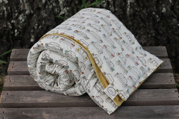 Adult/Teen Organic Weighted Blanket-Vintage Cars Organic Cotton Front / Organic Back / Glass Beads / College Gift / Weighted Blanket