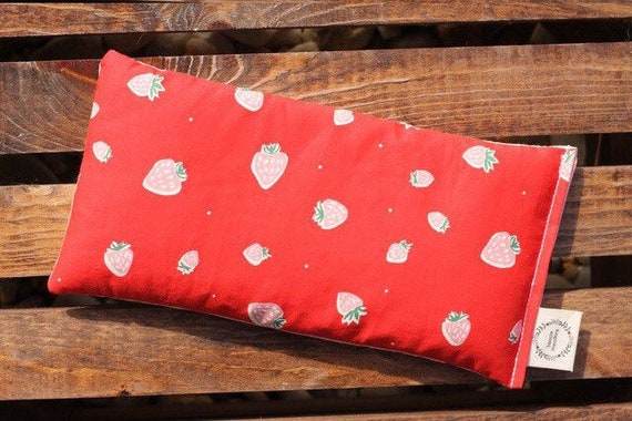 Strawberries / Organic Weighted Eye Mask / Glass Beads / Yoga Pillow / Sleep Mask / Eye Pillow / Headache Relief / Gift for her / Spa Gift