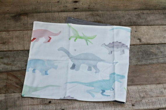 Child's Organic Weighted Lap Pad, Dinosaurs/Gray Organic Cotton, Glass Beads, School Lap Pad, Choose Your Weight!