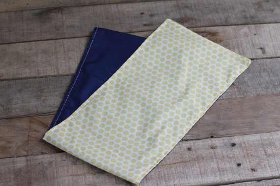 Adult/Teen Organic Weighted Shoulder Wrap, Yellow Spots and Navy Organic Cotton, 5 Lbs, Glass Beads, Gift for Her, Relaxation Gift,