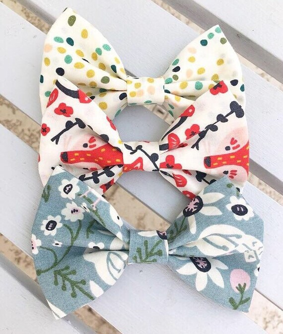 Organic Fabric Scrap Bows / Hair Bows / Bowties / Hair Accessories / Gifts for Kids / Baby Girl/ Hair Clip