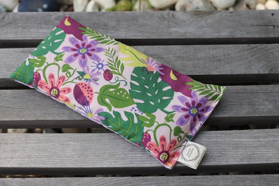 Tropical Flowers  / Organic Weighted Eye Mask / Glass Beads / Sleep Mask / Yoga Pillow / Eye Pillow / Headache Relief / Gift for her