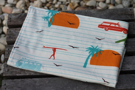 Child's Organic Weighted Lap Pad, Surfs Up Organic Cotton Front, Organic Flannel Back, Glass Beads, School Lap Pad, Study Tool, Gift For Kid