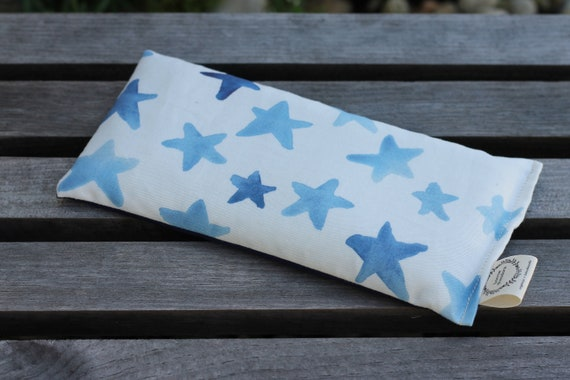 Organic Weighted Eye Mask / Blue Stars / Glass Beads / Sleep Mask / Yoga Pillow / Eye Pillow / Headache Relief / Gift for her / Spa Gift