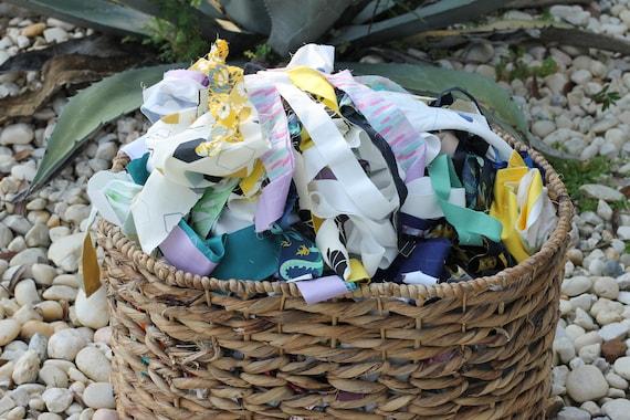 Organic fabric Scraps, highchair banner, eco friendly party decor, rag rug supplies