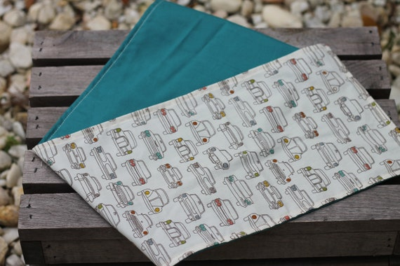 Adult/Teen Organic Weighted Shoulder Wrap, Vintage Cars and Teal Organic Cotton, 5 Lbs, Glass Beads, Gift for Her, Relaxation Gift,