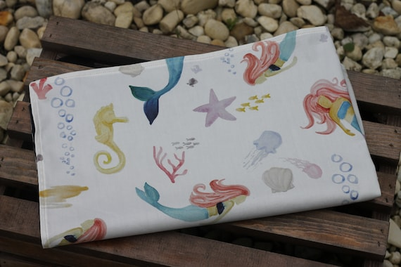 Adult /Teen Organic Weighted Lap Pad, Mermaids and Dusk Organic Cotton, 16X24, Glass Beads, Choose Your Weight, Travel Lap Pad