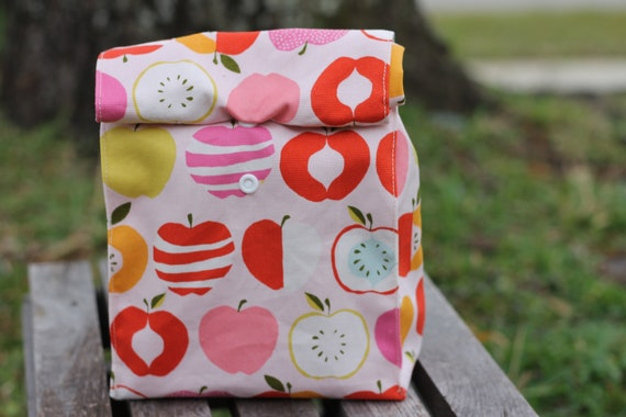 Organic Apples Reusable Lunch Bag , Fabric Lunch Bag,  Kids Lunch Bag, Eco Friendly Lunch Sack, Adult Lunch Sack, Kids Lunch Sack