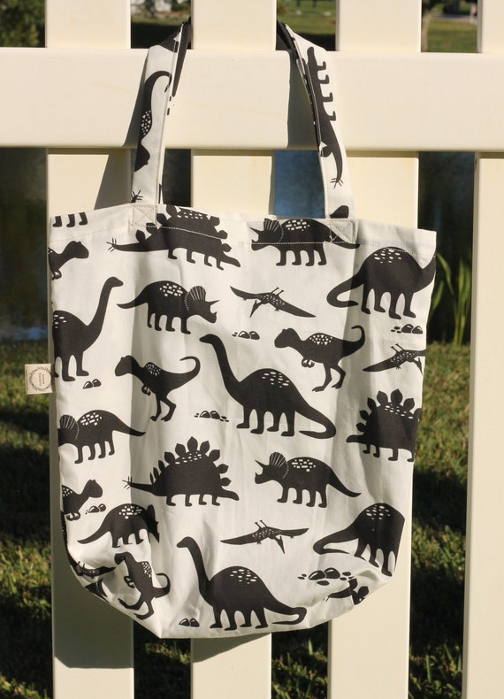 Organic Reusable Tote / Dinosaurs / Shopping Tote / Eco Friendly Bag / Gift Bag / Market Bag