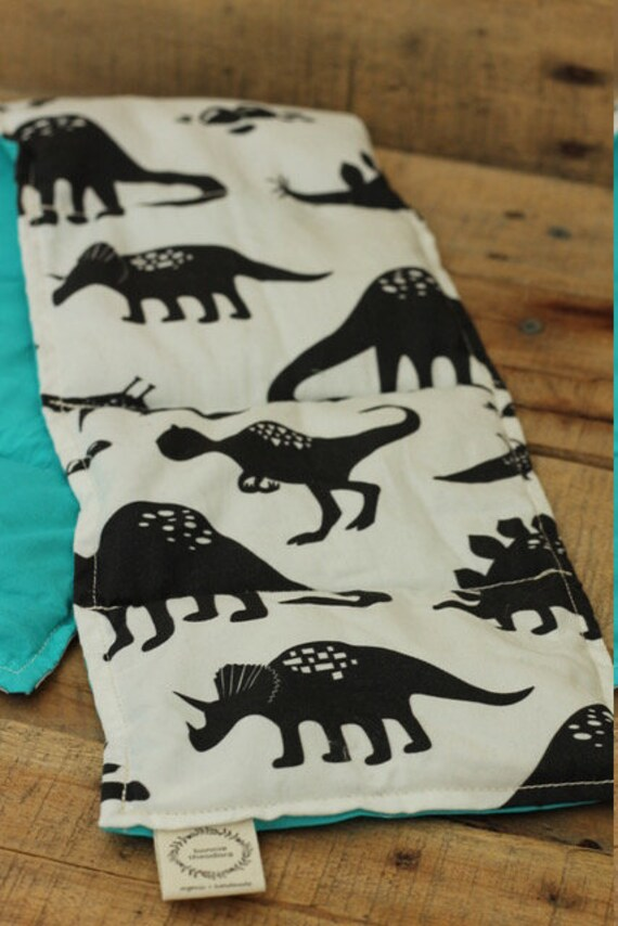 Children's Organic Weighted Shoulder Wrap / Dinosaurs/Turquoise Organic Cotton / 3 Lbs / Ready To Ship / Glass Beads / Stress Relief