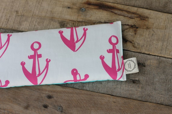 Organic Weighted Eye Mask / Pink Anchors /Turquoise / Glass Beads / Sleep Mask / Yoga Pillow / Eye Pillow / Headache Relief / Gift for her
