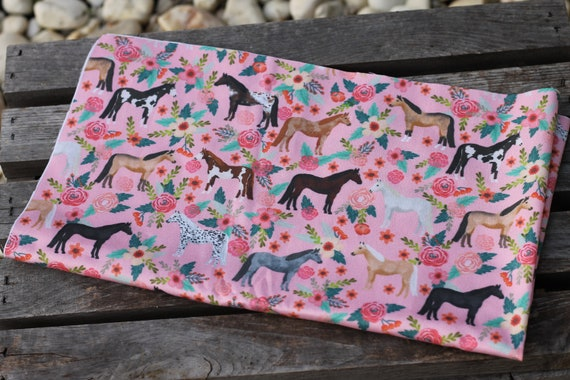 Child's Organic Weighted Lap Pad, Horses Organic Cotton Front, Choose Your Organic Cotton Back, Glass Beads, School Lap Pad, Study Tool