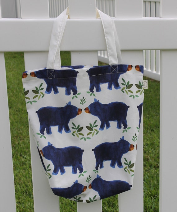 Organic Reusable Tote, Shopping Tote, Eco Friendly Bag, Gift Bag, Blue Bears