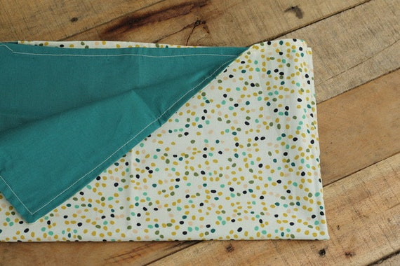 Adult Organic Weighted Lap Pad, Organic Cotton Firefly Dots/Teal Organic Cotton, 16X24, Glass Beads, Choose Your Weight, Travel Lap Pad