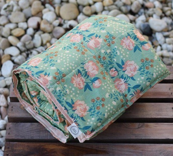 Adult Organic Weighted Blanket-Peonies Organic Cotton/Choose Your Organic Back/Glass Beads/Anxiety Gift/Gift for Her/Graduation Gift
