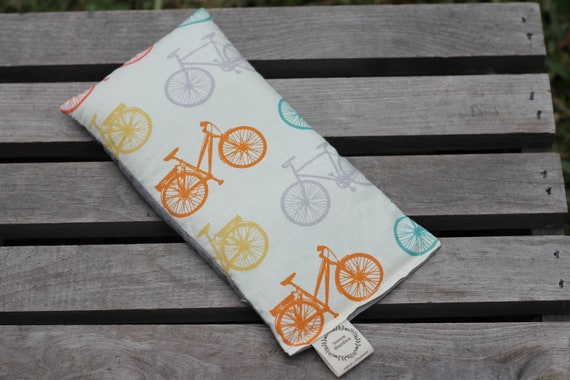 Organic Weighted Eye Mask / Bicycle / Glass Beads / Sleep Mask / Yoga Pillow / Eye Pillow / Headache Relief / Gift for her