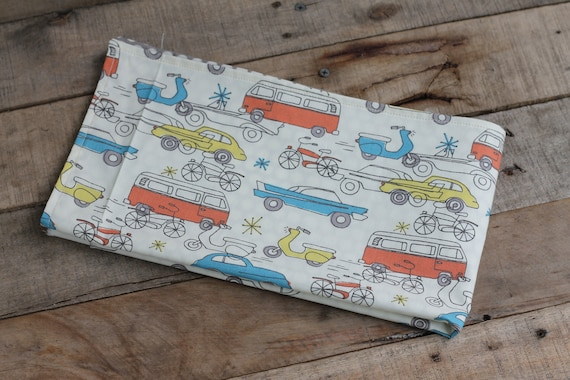 Child's Organic Weighted Lap Pad, Antique Cars/Gray spots Organic Cotton, Glass Beads, Travel Lap pad, School Lap Pad, Choose Your Weight!