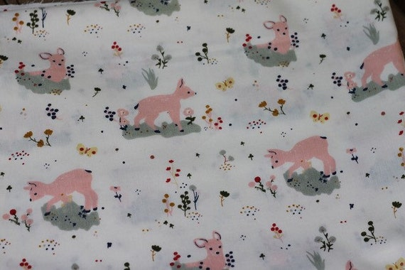 Child's Organic Weighted Blanket-Meadow Deer Organic Cotton/Organic Cotton Back, Glass Beads, Sensory Gift, Autism Gift