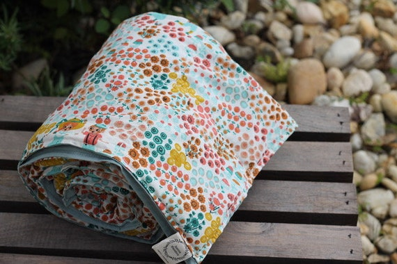 Ready To Ship! 4lb Childs Organic Weighted Blanket / Hidden Garden / Mineral Cotton Back / 35X50 / Glass Beads / Anxiety Relief