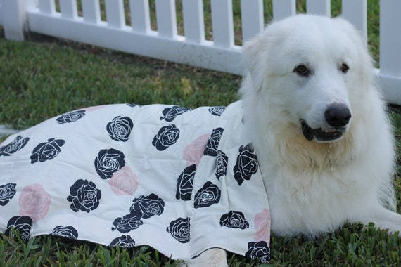 Organic Weighted Dog Blanket, Roses Organic Canvas, Organic Dog Blanket, Pet Blanket, Dog Thunderstorm Blanket, Choose Your Size and Weight!