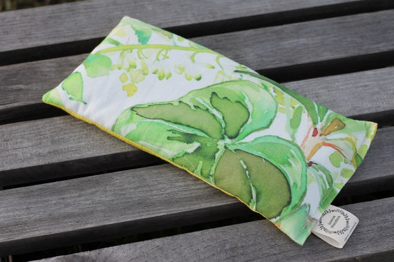 Organic Weighted Eye Mask/ Tropical foliage / Glass Beads / Yoga Pillow / Headache Relief / Gift for Her / Sleep Mask / Migraine Relief