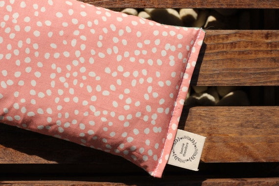 Pink Polka Dots / Organic Weighted Eye Mask / Glass Beads / Sleep Mask / Yoga Pillow / Headache Relief / Gift for her / Spa Gift