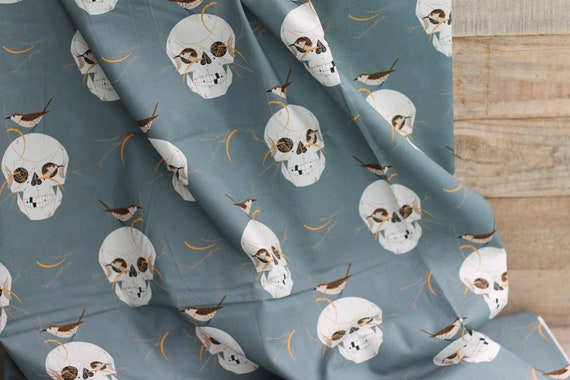 Adult/Teen Organic Cotton Weighted Blanket, Heavy Throw, Glass Beads, Gift For Dad, Skulls, Charley Harper Wrented, Holiday Gift