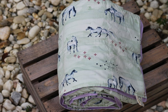 Child's Organic Weighted Blanket-Horses Organic Cotton/Choose Your Back, Glass Beads