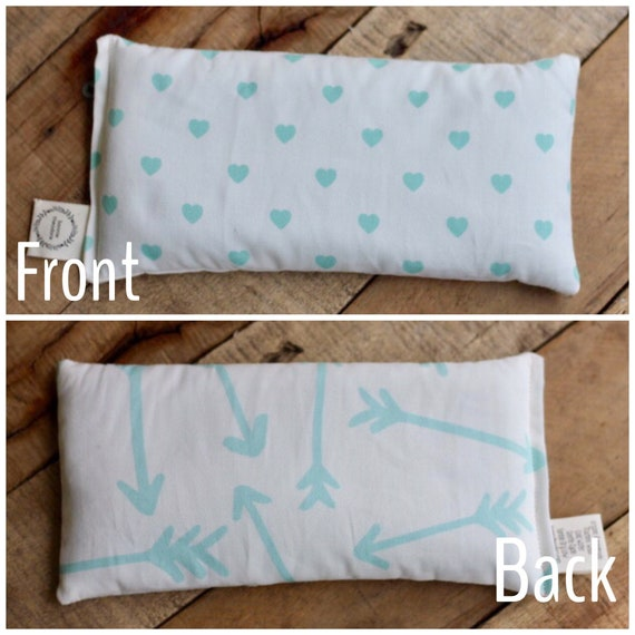 Valentines Day Organic Weighted Eye Mask-Front Mint Hearts/Back Mint Arrows-Yoga Pillow, Headache Relief, Gift for her, Glass Beads,