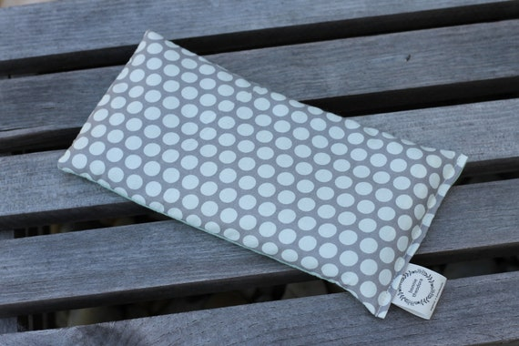 Organic Weighted Eye Mask / Gray Spots and Mint / Glass Beads / Sleep Mask / Yoga Pillow / Eye Pillow / Headache Relief / Gift for her / Spa