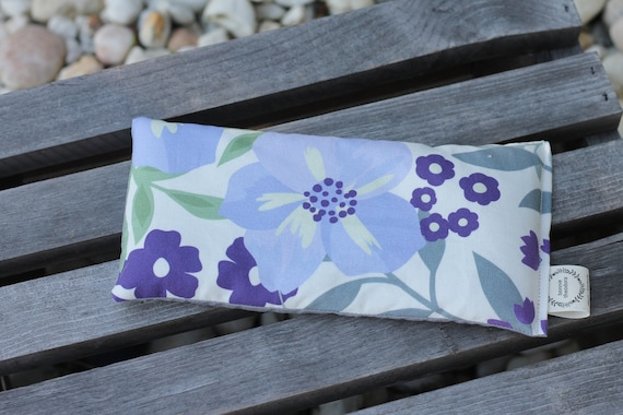 Organic Weighted Eye Mask / Purple Floral  / Glass Beads / Sleep Mask / Yoga Pillow / Eye Pillow / Headache Relief / Gift for her or him