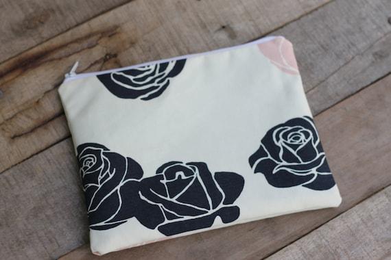 Organic Canvas Zipper Bag, Small Zipper Bag, Cosmetic Bag, Eco Friendly Zipper Pouch, Organic Canvas Bag, Travel Bag, Toiletry Bag, Roses