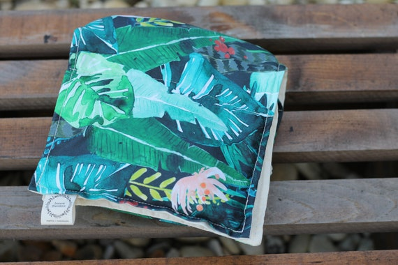 Ready To Ship ! Adult Organic Weighted Shoulder Wrap, Tropical Leaves Organic Cotton, 5 Lbs, Glass Beads, Gift for her, Stress Relief
