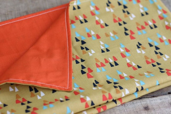 Adult Organic Weighted Lap Pad, Organic Cotton Arrows/Orange Organic Cotton, 16X24, Glass Beads, Choose Your Weight, Travel Lap Pad