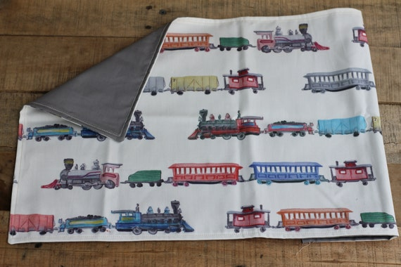 Child's Organic Weighted Lap Pad, Trains/Gray Organic Cotton, Glass Beads, School Lap Pad, Choose Your Weight!