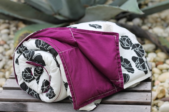 Adult/Teen Organic Organic Weighted Blanket-Cali Pop  and Plum, Glass Beads, Heavy Blanket, Anxiety Relief, Insomnia Relief, Organic Throw