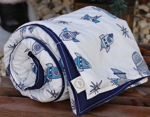 Child's Organic Weighted Blanket-Blue Vintage Rockets Organic Cotton/Navy Organic Cotton, Glass Beads