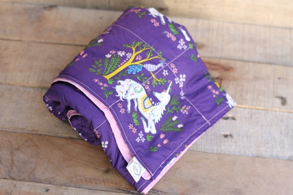 Adult Organic Unicorn Weighted Blanket / Cotton / 42X65 / Glass Beads / Custom Weight / Anxiety Relief / Natural Sleep Aid / Autism