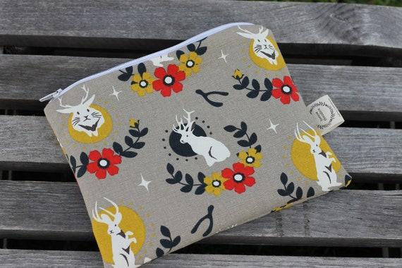 Organic Canvas Zipper Bag, Small Zipper Bag, Cosmetic Bag, Eco Friendly Zipper Pouch, Organic Canvas Bag, Travel Bag,Toiletry Bag, Jackalope