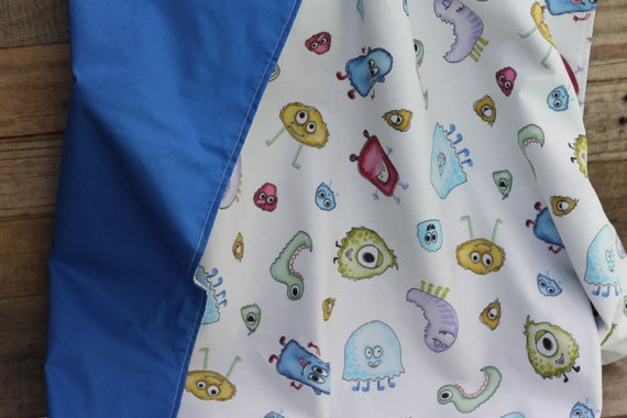 Organic Cotton Child's Weighted Blanket, Silly Monsters and Blue Organic Back,  Kids Weighted Throw, Christmas Gift For Kids, Glass Beads