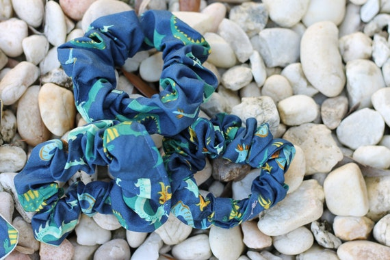 Organic Fabric Scrap Scrunchies / Hair Accessories / Gifts for Kids / Dragon Scrunchie / Organic Hair Accessories / Eco Friendly