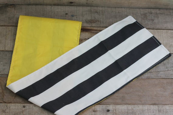 Adult Organic Weighted Shoulder Wrap, Black and White Stripe and Yellow Organic Cotton, 5 Lbs, Glass Beads, Gift for Her, Relaxation Gift
