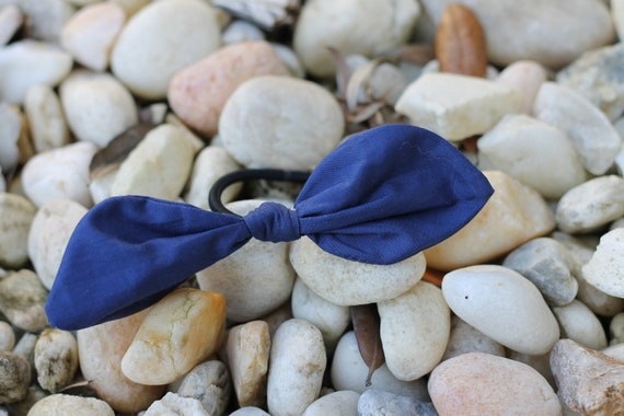 Organic Fabric Scrap Hair Ties / Hair Accessories / Gifts for Kids/ Navy Hair Tie / Organic Hair Accessories / Ponytail Holder /