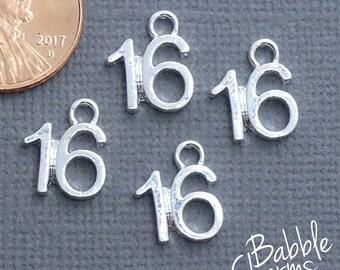 10 x Bright SilverTibetan Age Number Birthday Anniversary Charm Pendants Choose